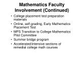 mathematics faculty involvement continued