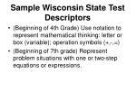 sample wisconsin state test descriptors