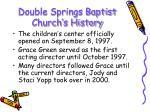 double springs baptist church s history