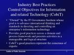 industry best practices control objectives for information and related technology cobit