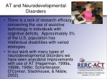 at and neurodevelopmental disorders