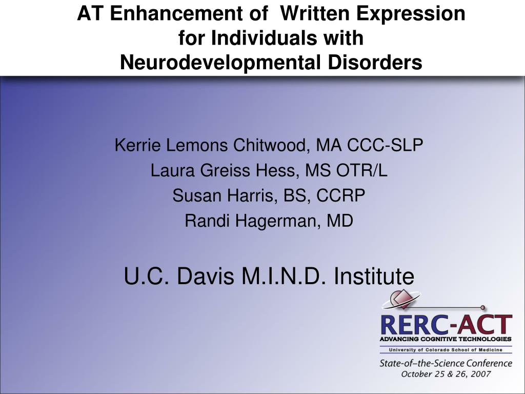 at enhancement of written expression for individuals with neurodevelopmental disorders l.