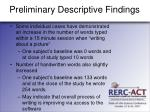 preliminary descriptive findings