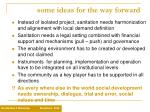 some ideas for the way forward