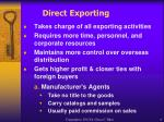direct exporting