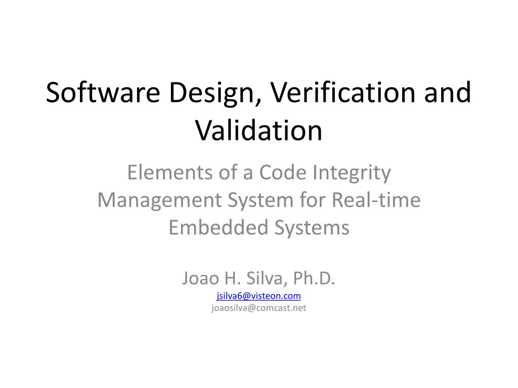 software design verification and validation l.