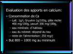 evaluation des apports en calcium