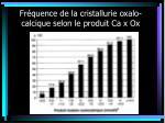 fr quence de la cristallurie oxalo calcique selon le produit ca x ox