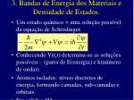 3 bandas de energia dos materiais e densidade de estados