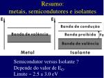 resumo metais semicondutores e isolantes