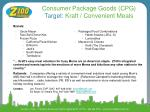 consumer package goods cpg target kraft convenient meals