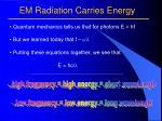 em radiation carries energy