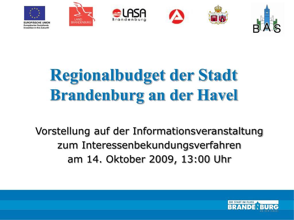 regionalbudget der stadt brandenburg an der havel l.