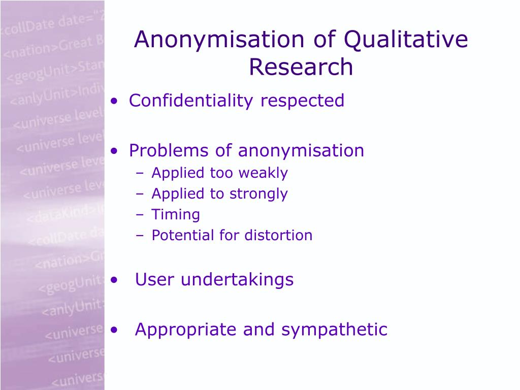 Anonymisation of Qualitative Research