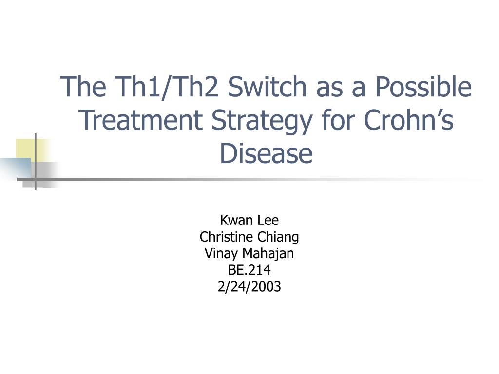 the th1 th2 switch as a possible treatment strategy for crohn s disease l.