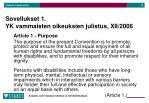 sovellukset 1 yk vammaisten oikeuksien julistus xii 2006