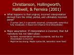 christianson hollingworth halliwell ferreira 2001