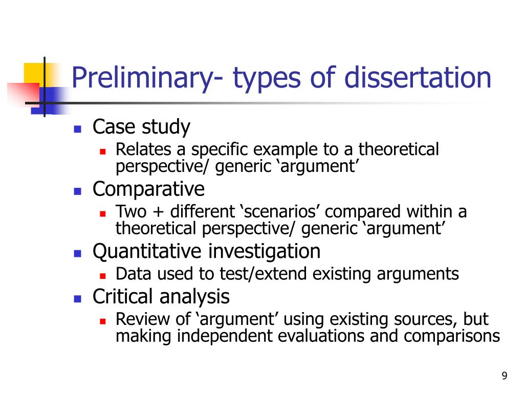 types of dissertations