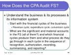 how does the cpa audit fs