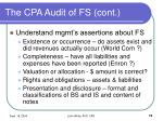 the cpa audit of fs cont