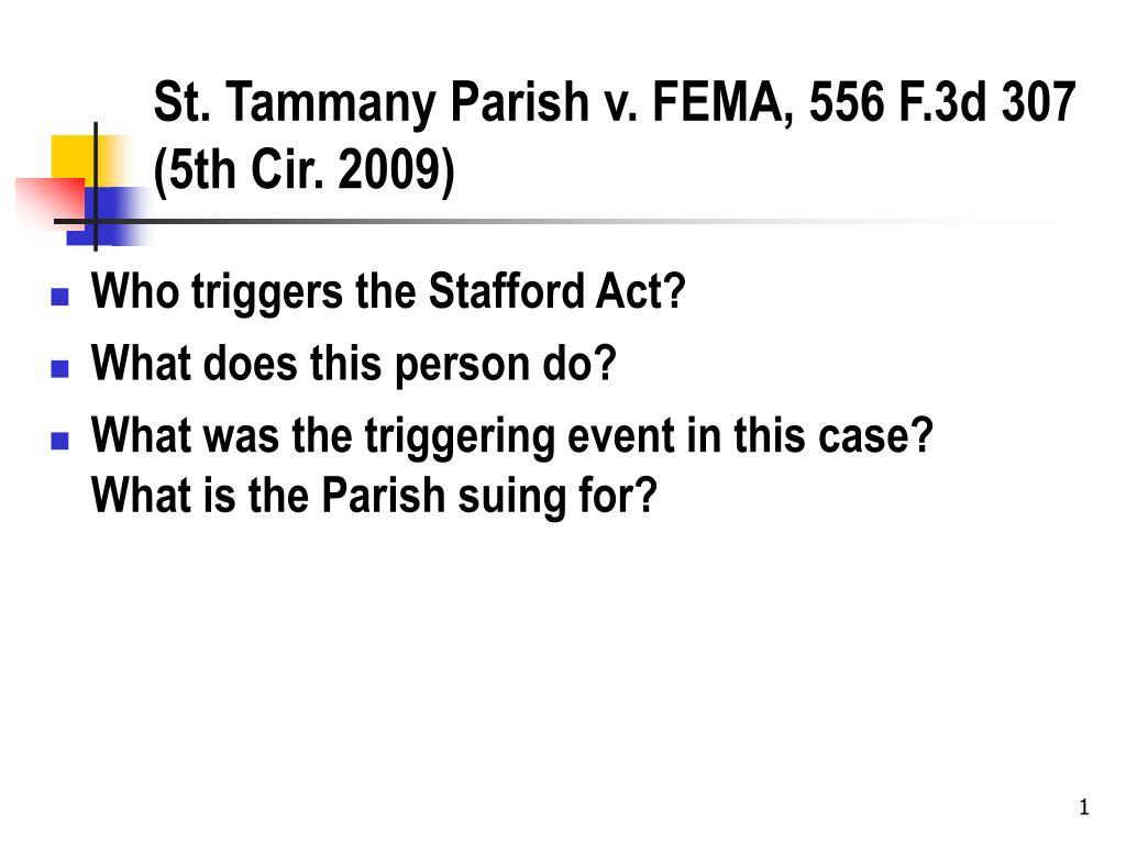st tammany parish v fema 556 f 3d 307 5th cir 2009 l.