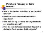 why should fema pay for debris removal