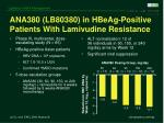 ana380 lb80380 in hbeag positive patients with lamivudine resistance