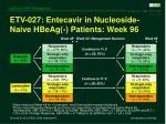 etv 027 entecavir in nucleoside naive hbeag patients week 96