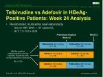 telbivudine vs adefovir in hbeag positive patients week 24 analysis