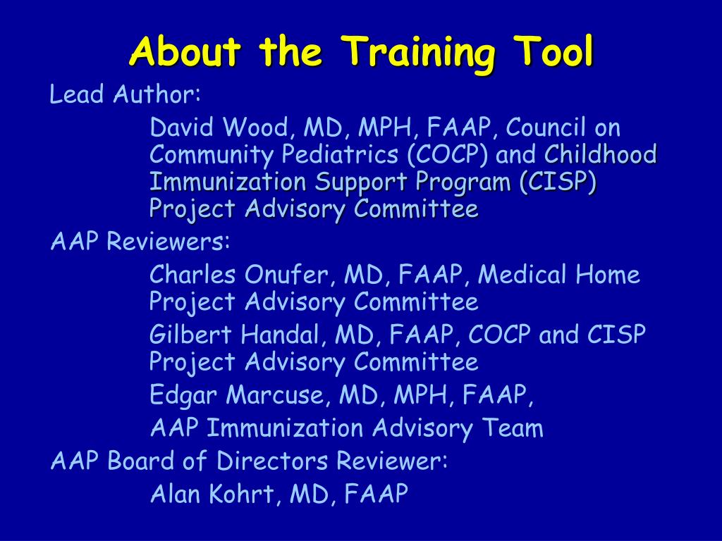 About the Training Tool