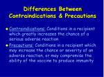 differences between contraindications precautions