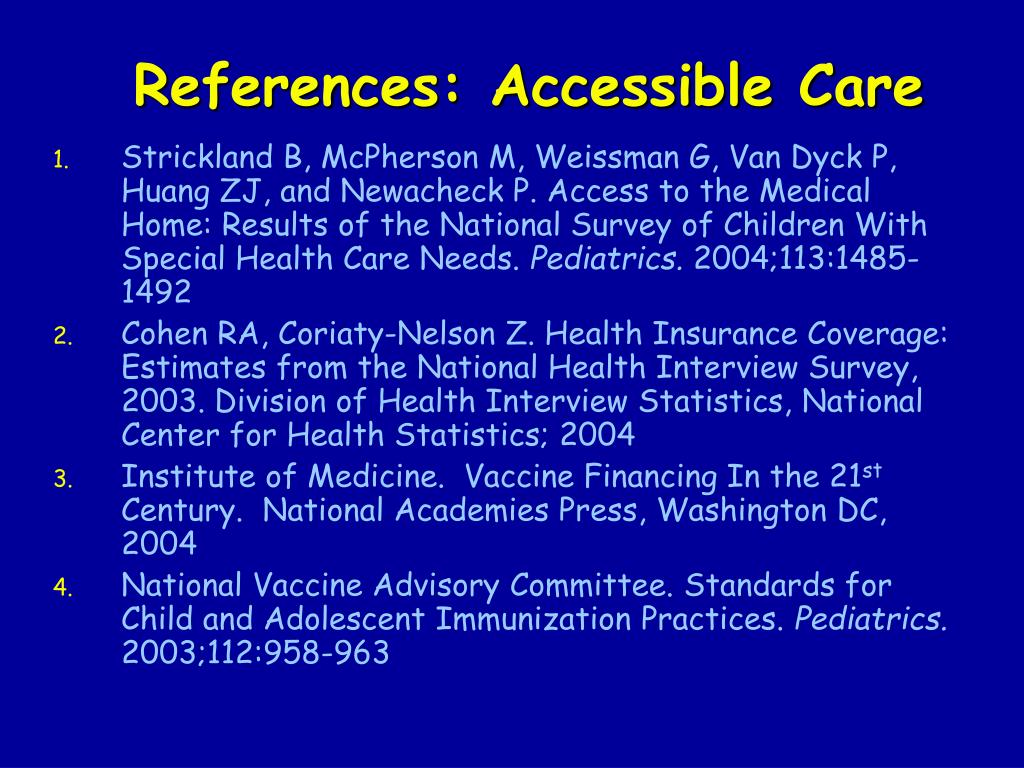 References: Accessible Care
