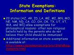 state exemptions information and definitions99