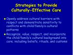 strategies to provide culturally effective care127