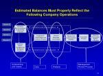 estimated balances must properly reflect the following company operations17