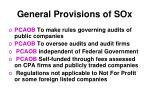 general provisions of sox