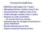 provisions for audit firms