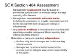 sox section 404 assessment