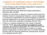 summary of sarbanes oxley provisions affecting directors ceos and cfos