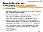 opportunities for user involvement clinical guidelines