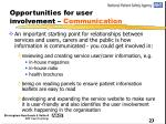 opportunities for user involvement communication