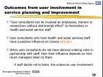 outcomes from user involvement in service planning and improvement24