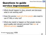 questions to guide service improvement10