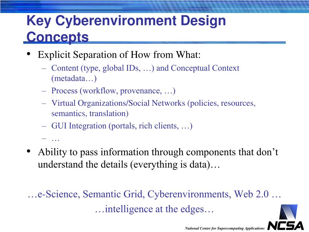 Key Cyberenvironment Design Concepts