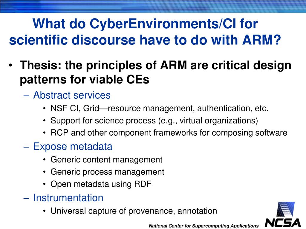 What do CyberEnvironments/CI for scientific discourse have to do with ARM?
