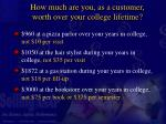 how much are you as a customer worth over your college lifetime