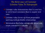 the relevance of customer lifetime value to salespeople