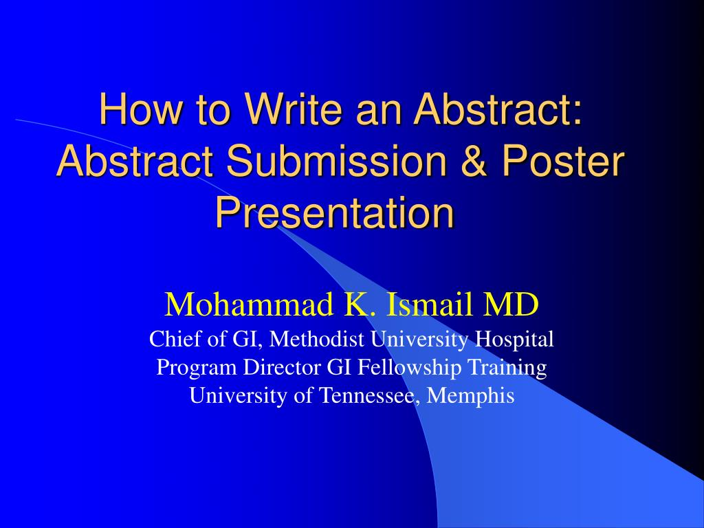 how to write an abstract abstract submission poster presentation l.