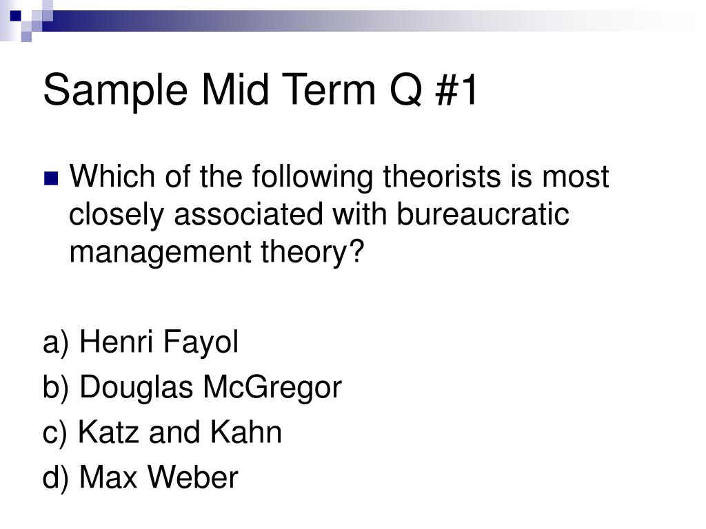 Sample Mid Term Q #1