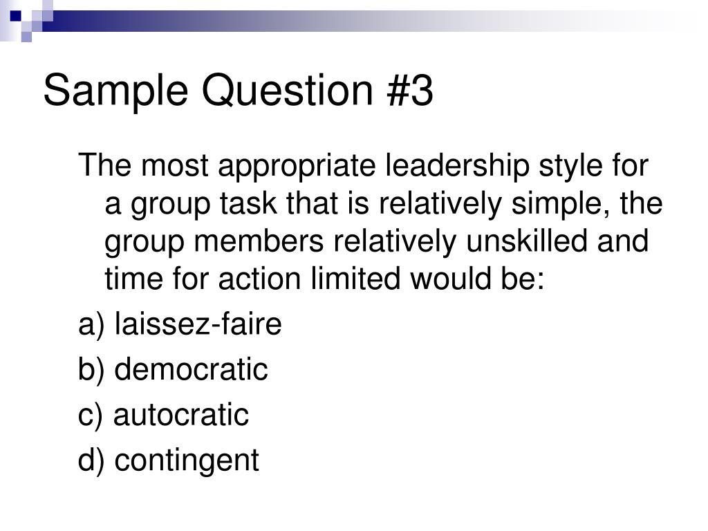Sample Question #3